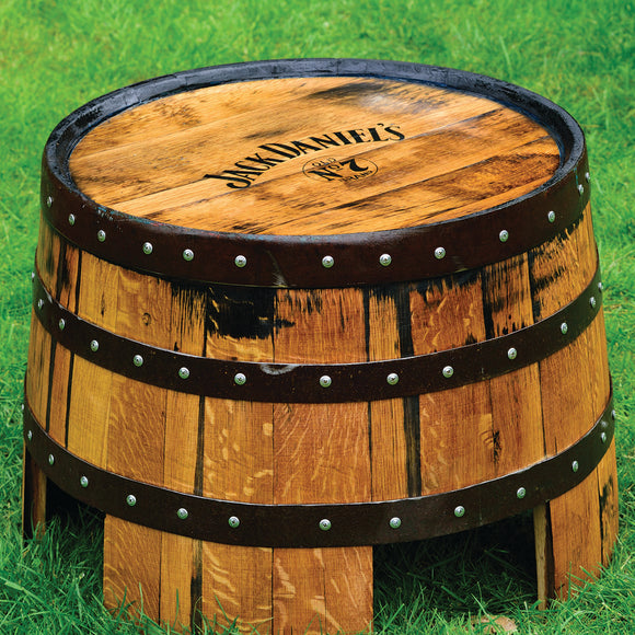 Recycled Solid Oak Jack Daniel's Branded Whisky Barrel Coffee Table | End Table