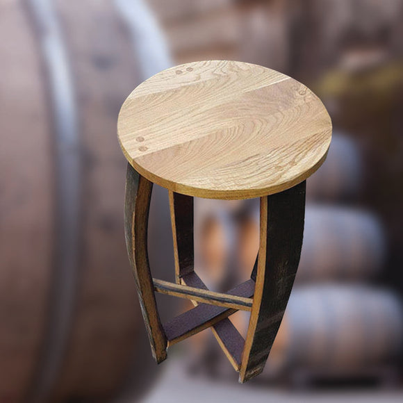 Natural Wooden Whisky Barrel Stave Bar Stool with Personalised Logo