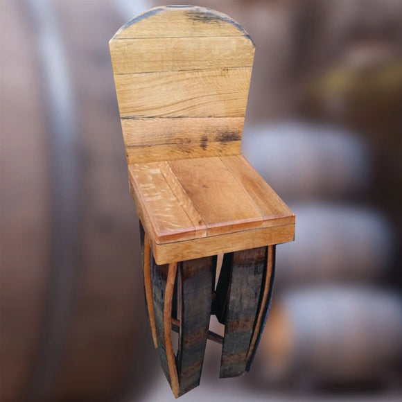 Recycled Solid Oak Whiskey Barrel Stave Bar Stool with Back and Personalised Logo