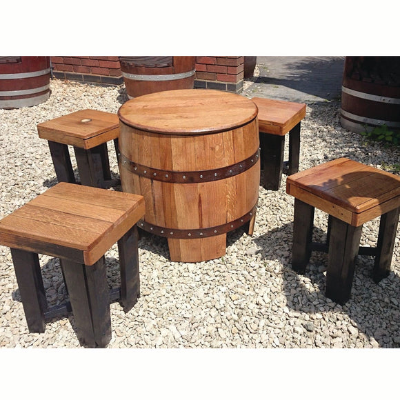 Recycled Solid Oak Whisky Barrel Patio Table and Set of Four Stools