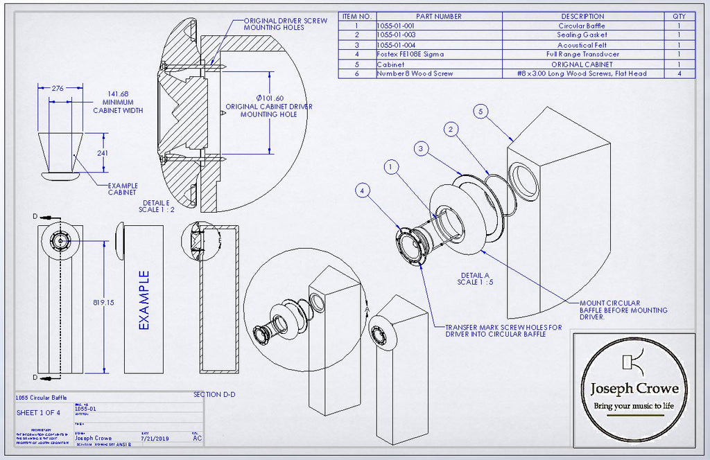 Circular Baffle for Fostex FE108EZ Drawing Plans