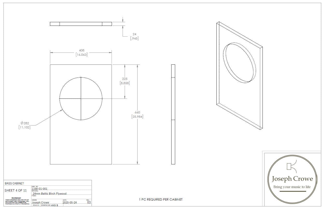 Bass Cabinet Plans No.1168