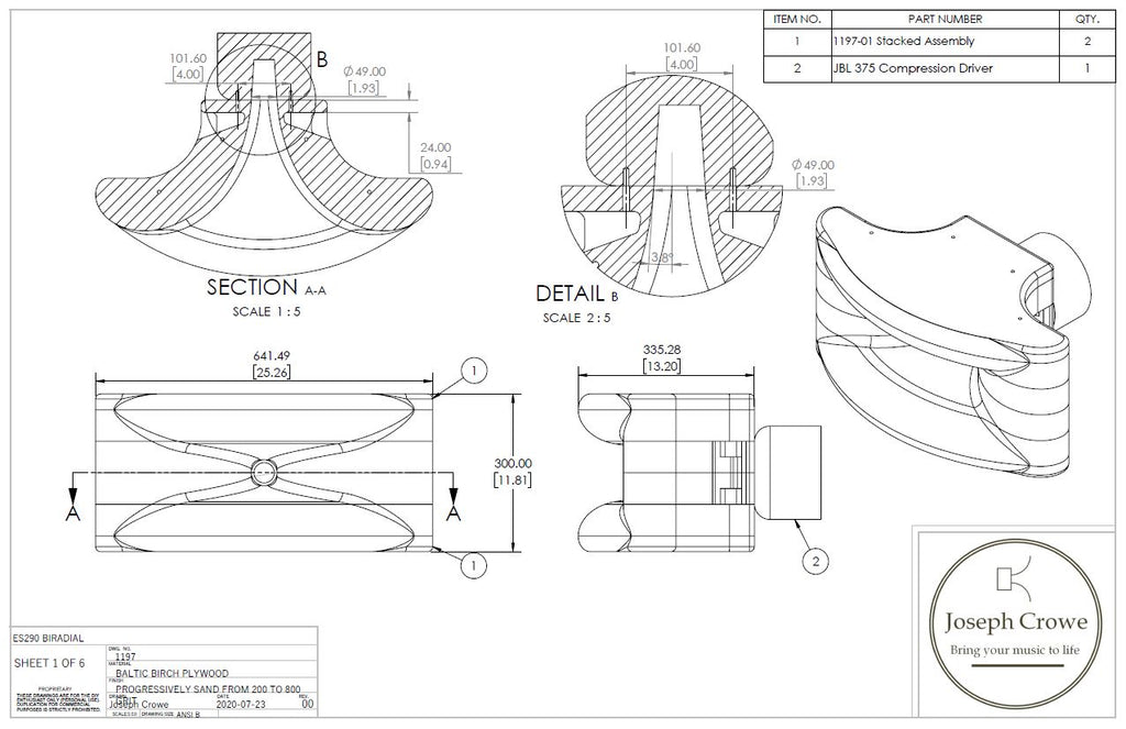 Full CAD/CAM plans for ES-290 Biradial Horn