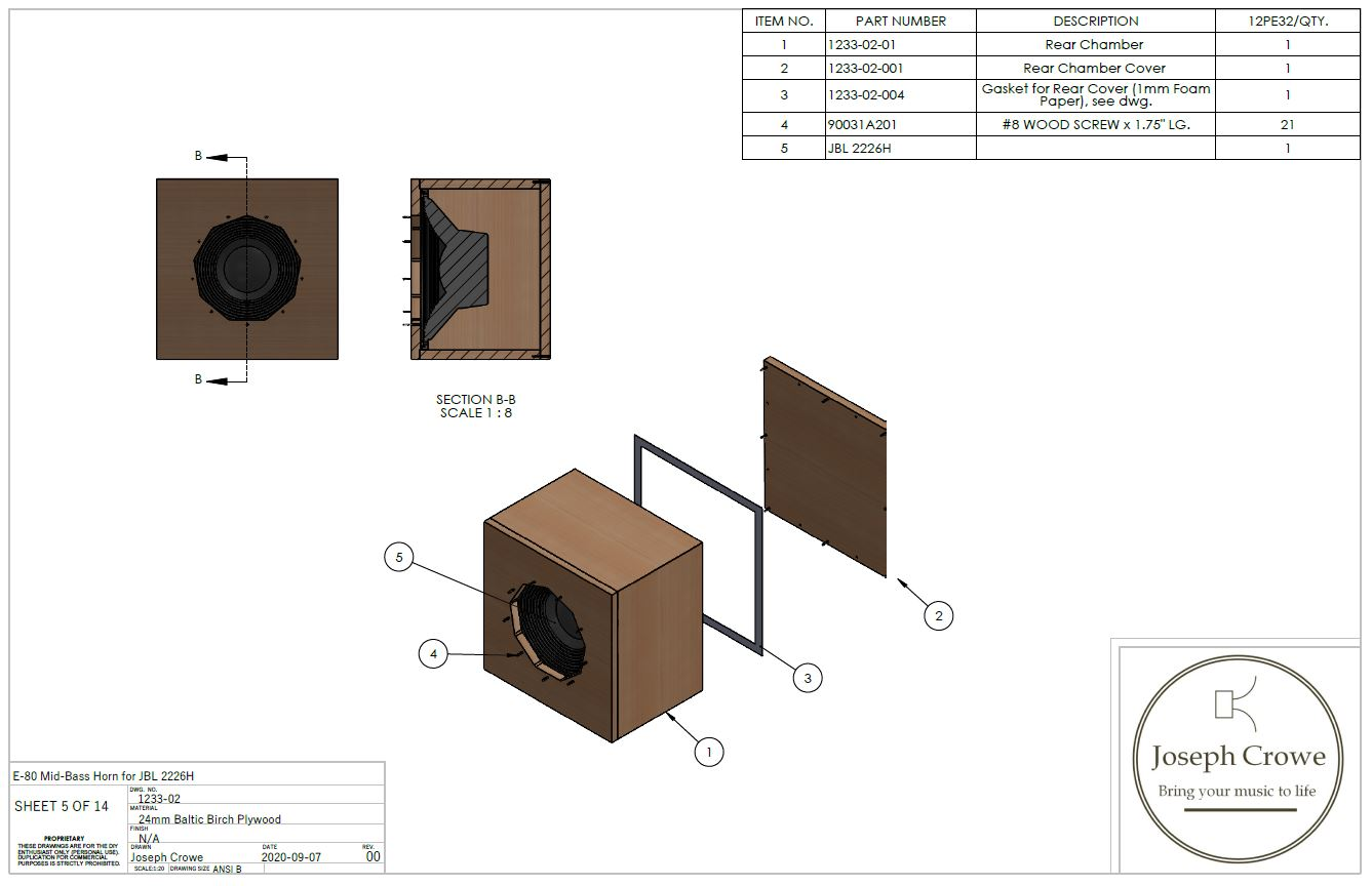 E-80 Mid-Bass Front Horn Speaker Plans --- JBL 2226H