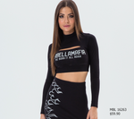 LONG SLEEVE FIRE BLACK CROPPED TEE