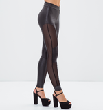 Leather/ Mesh Zippered Metallic Black Pants
