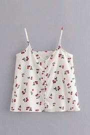 White Cherry Crop Top shirt