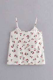 A White Cherry Fruit Sleeveless Crop Top