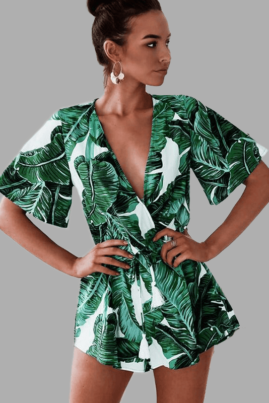 Play suit overall with banana leaves