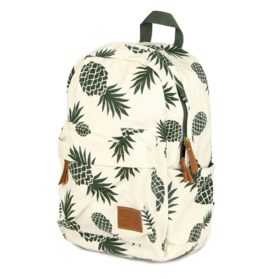 Pineapple fruit Back Pack - Green Pineapples white school / laptop bag