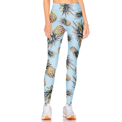 Elastic Pineapple fruit waist Legging bottoms, perfect for yoga, training, Sports, Gym Workout and any casual day.