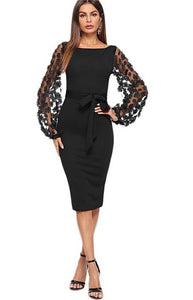 Stylish Advisor Boutique Sophisticated Semi Sheer Sleeve 3 D Floral Embellishments