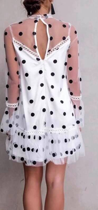 Stylish Advisor Boutique White Sheer Polka Dot Mini Dress Spring 2019