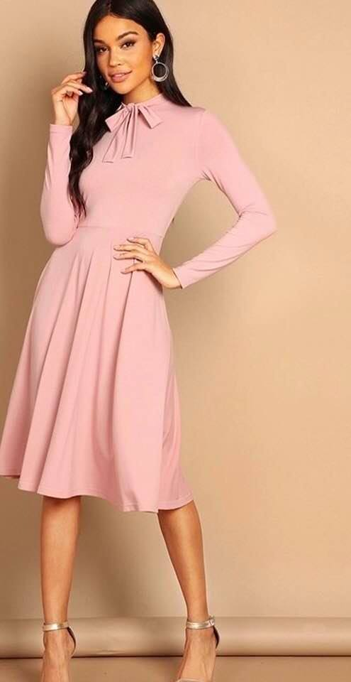 Stylish Advisor Boutique Pink Bow Tie Neck A-Line Slim Fit Dress Spring 2019