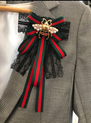 Inspired Designer Ribbon Bow Tie Brooch with Bee Accents Fringe Green & Red | Gift Ideas | Mother's Day Gift