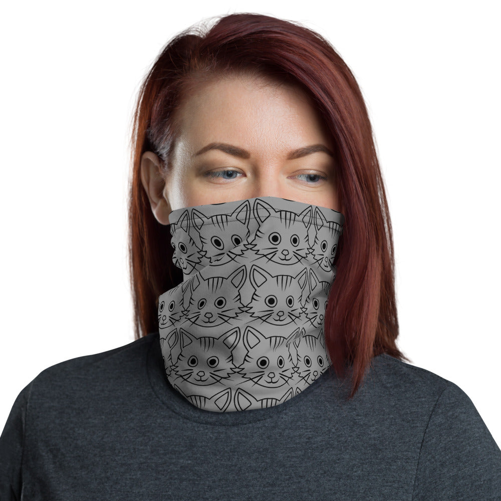 Gray Cat Face Mask | Neck Gaiter | Covid-19