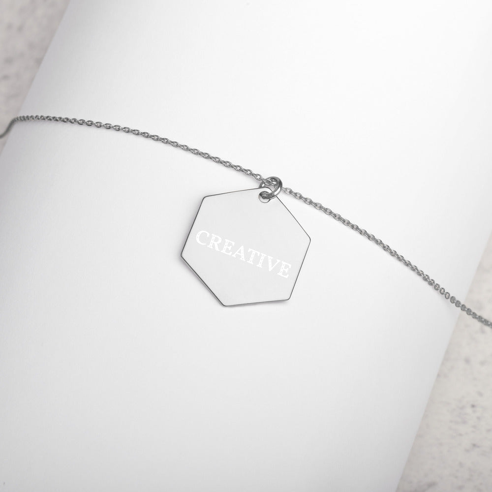 Engraved CREATIVE Silver Hexagon Necklace Feminist Boss Girlfriend Gift