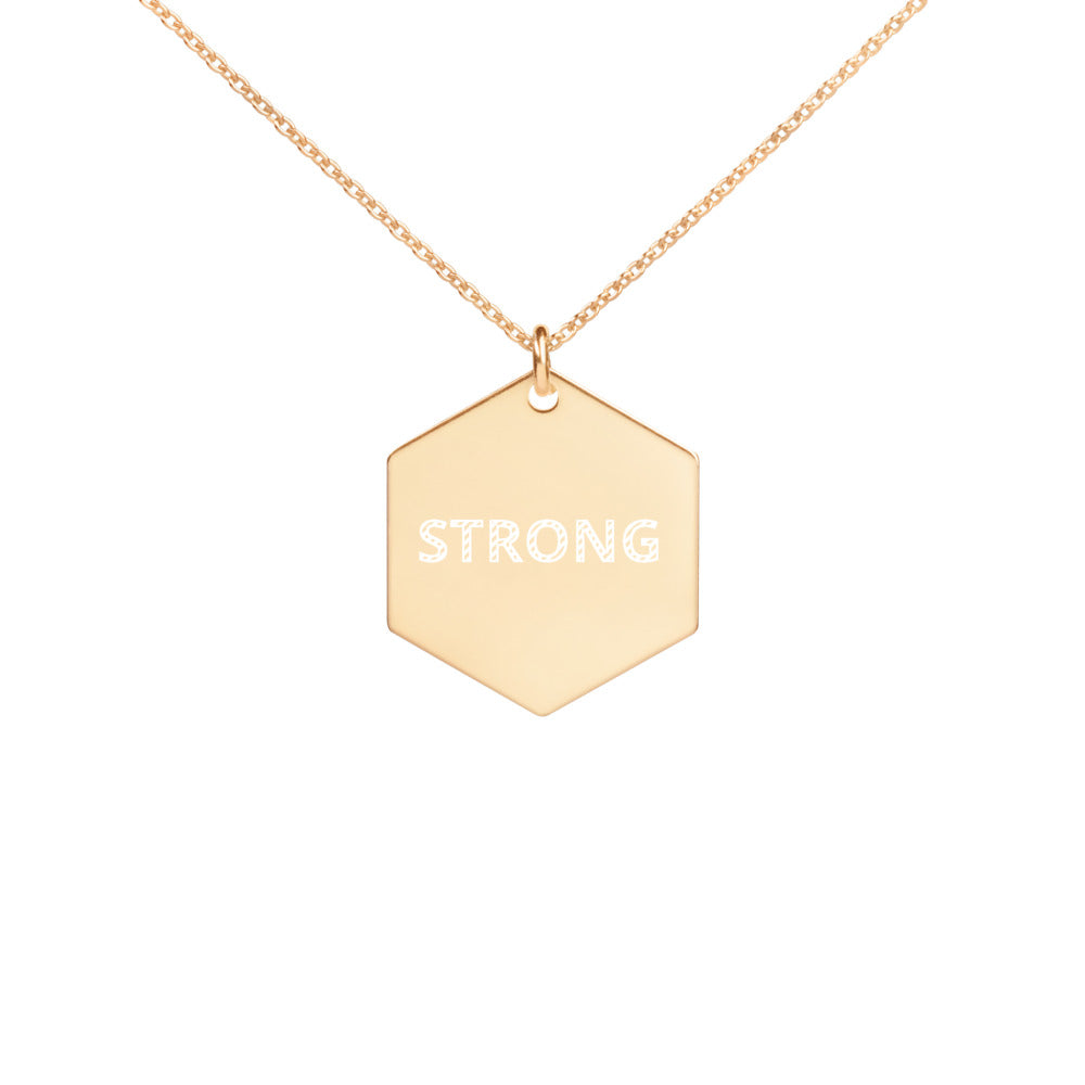 Engraved STRONG Silver Hexagon Necklace Feminist Boss Girlfriend gift