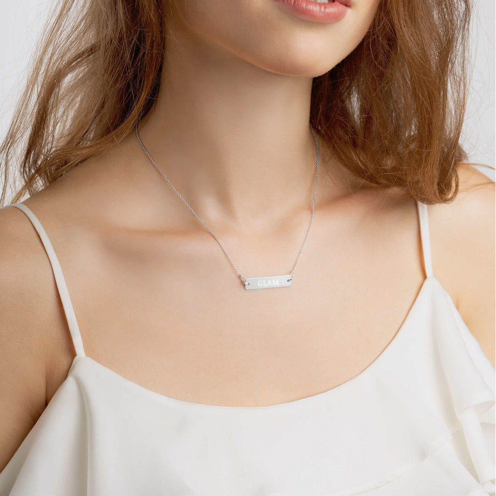 Stylish Advisor GLAM Engraved Silver Bar Chain Necklace