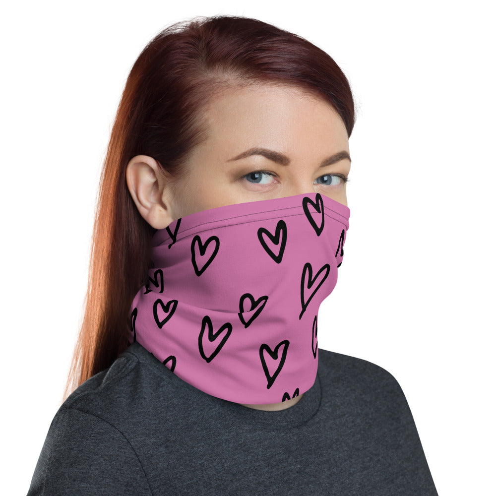 Pink Heart Face Mask | Neck Gaiter | Covid-19