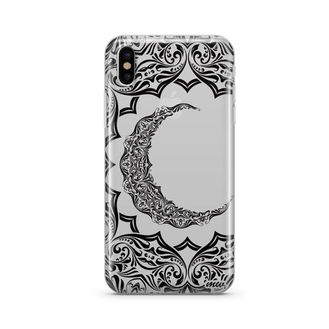 Crescent Moon Henna - Clear TPU Case Cover