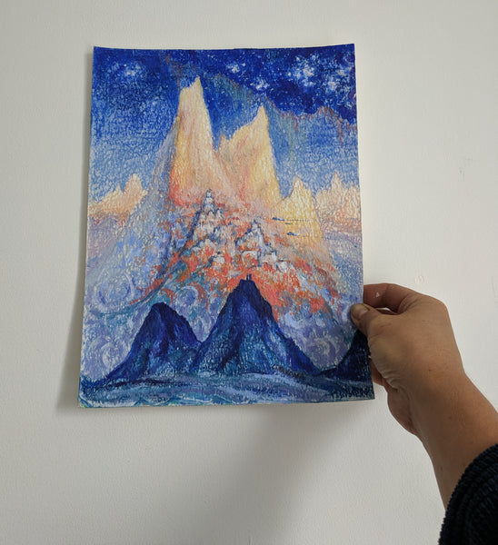 Crystal Evening ... original sci-fi fantasy art in pastel and watercolor