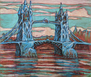 Growing Bridge original fantasy acrylic painting