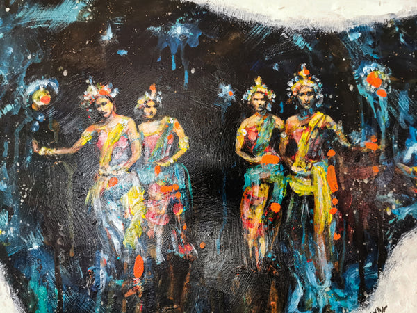Dancers from Phuket. Original Framed Acrylic Painting, 66x50.5 cm