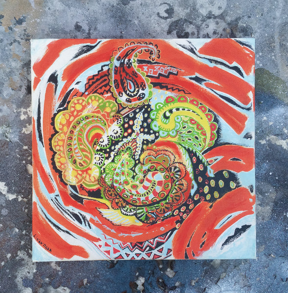Folk Swirl - a burst of colorful folkart patterns on canvas