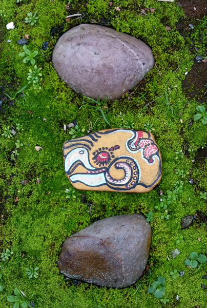 Quetzal Stone painted in acrylic and ink