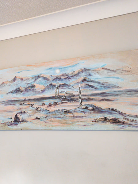 Beacons in the desert. Original Painting, 51 x 122 cm