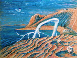 ... Seek the furthest shore ... original sci-fi fantasy art in pastel, ink and acrylic