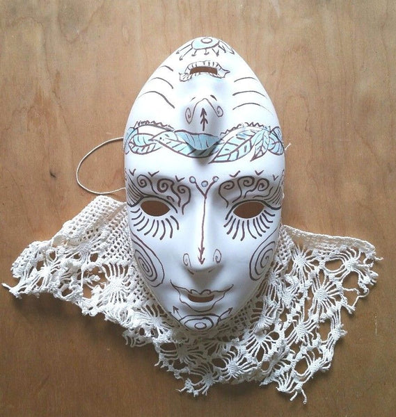 Unusual Double Faced Alien white mask with vintage lace, hand drawn pattern