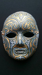 Handpainted grey blue and golden yellow tribal mask with swirls and dots