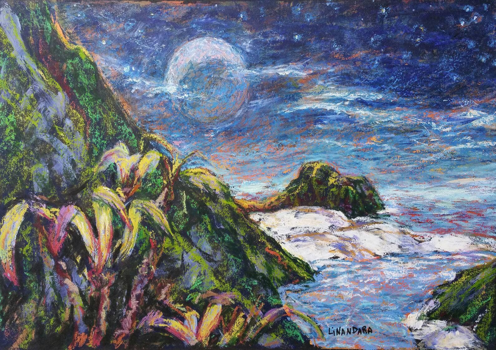 Distant Shores and a Moon's Birthday, Oil Pastel and Acrylics fantasy painting on black card, A3 42 × 30 cm
