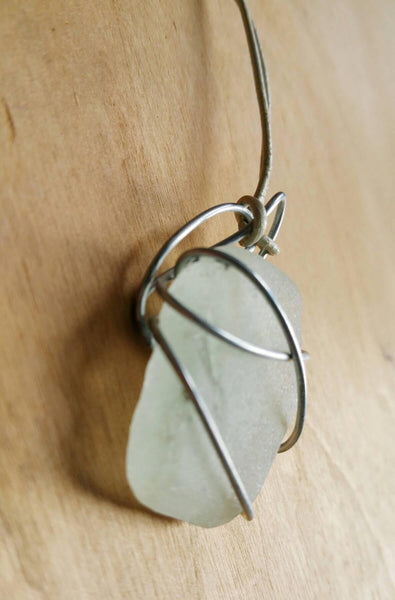 One of a Kind Seaglass and Wire Pendant from Norfolk, UK