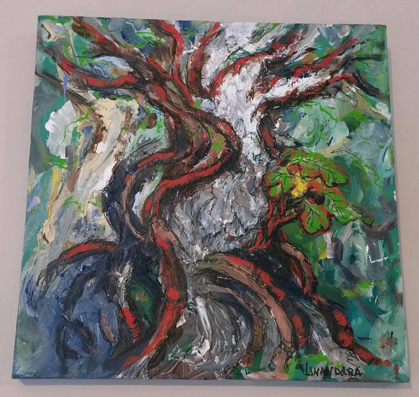 Waterfall Tree Original Acrylic and Ink painting