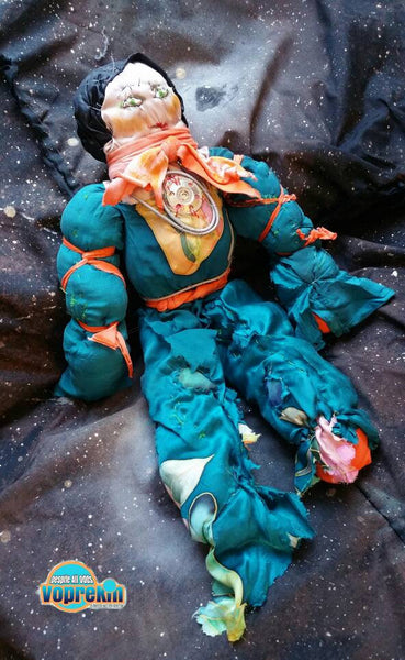 Sonja The Rebel Captain - unusual one of a kind wild rag art doll from outer space in a bright emerald green and orange spacesuit, 50cm tall