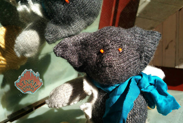Mr Mauseus - unusual one of a kind wild rag mouse art doll from another universe with a blue green scarf and grey woolly jacket, 22cm tall