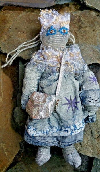 She Came From Outer Space Handmade OOAK Nerd Sci-fi Art Textile Silver Doll