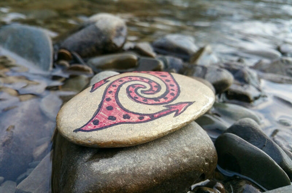 Double Arrow Spiral Eye Pebble Art - Hand Drawn Mystery Symbol - by Linandara