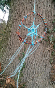 Blue Yarn and Willow Dream Catcher, One Of The Kind, Sparkling Turquoise Cobweb