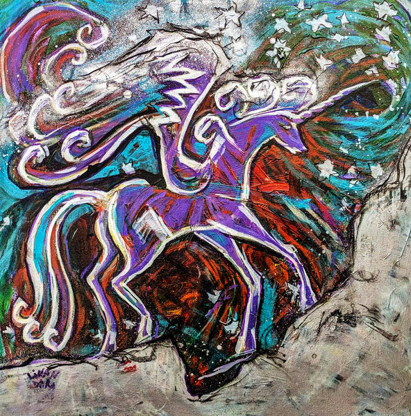 Imagination: Wild Unicorn. Original Painting, 60x60 cm