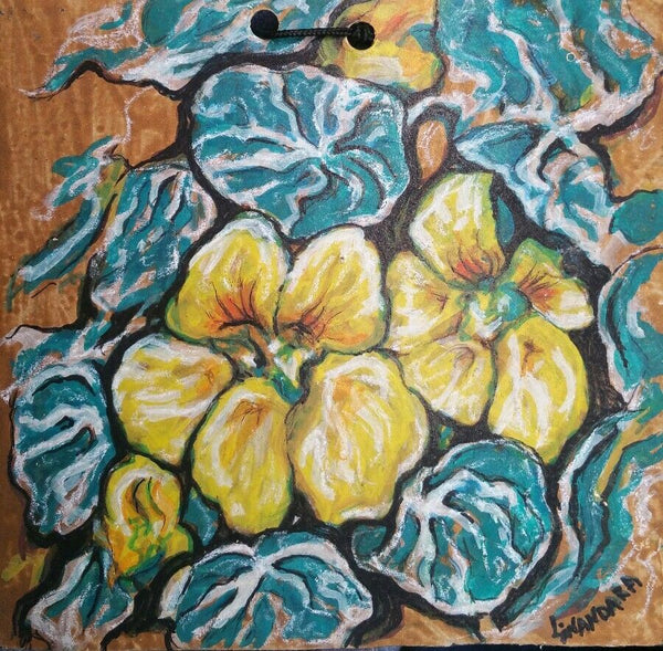 Yellow Nasturtium painting original signed artwork expressive acrylic on board