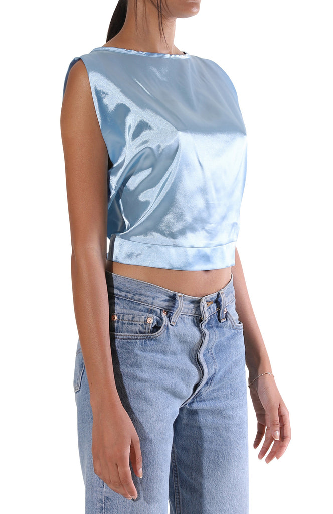 Carly Crop Blouse - Blue