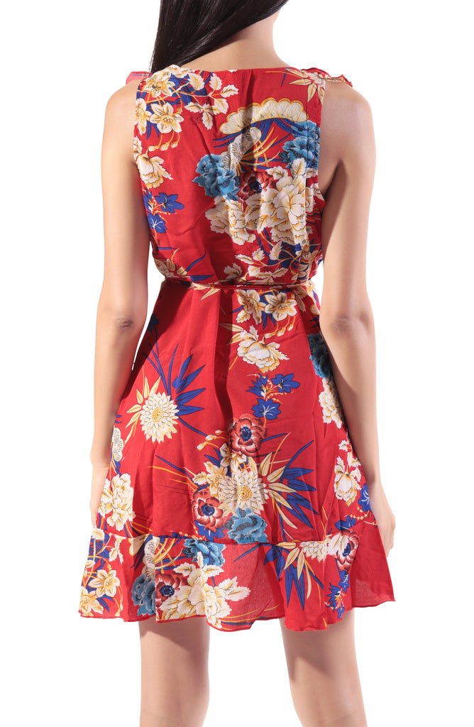 Halina Floral Mini Dress - Red