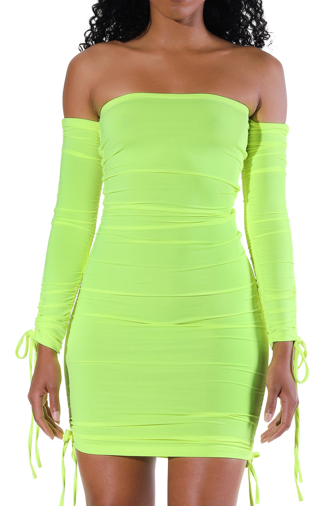 Kora L/S Mini Dress - Neon Green