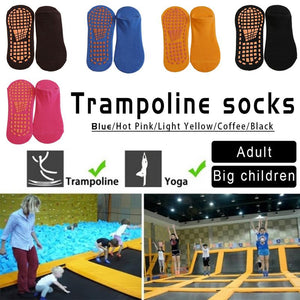 1 Pair Cotton Anti-slip Trampoline Socks Kids Adult Bottom Ballet Yoga Socks Outdoor Socks Protection Foot