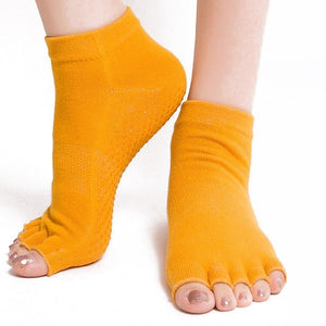 1 Pair Nonslip Silicone Bottom Toeless Yoga Socks Open Toes Half Finger Anti-slip Sport Socks for Gym Fitness Training Exercise