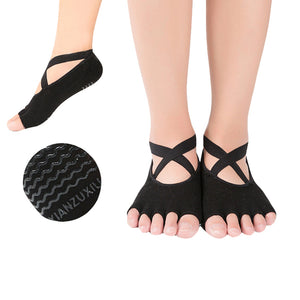 1 Pair Women Professional Cotton Yoga Socks with Cross Belt Open Toe Anti-skid Breathable Socks for Dance Ballet Fitness Pilates